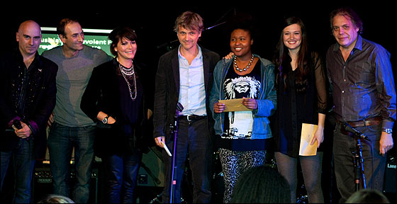 L-R: Tony Moore, Alison Clarkson, Guy Chambers, Sherika Sherard, Jessica Staveley-Taylor and David Stark