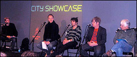 On the previous day, Sean Devine of ASCAP (left) moderated a songwriting panel which featured (l-r) songwriters Julian Hinton, Richard Flanagan, Will Kevans and manager Peter Jenner.
