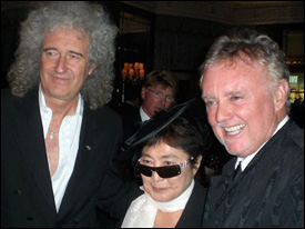 Brian May and Roger Taylor with Yoko Ono, who picked up the awards for 4m plays of John Lennon's 'Woman' (Lenono Music).