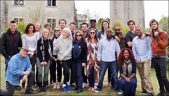 Photo: (l-r) ASCAP's Marc Emert-Hutner, castle owner Miles Copeland (kneeling), Nina Woodford, Dave Bassett, ASCAP's Sue Drew, Michelle Bell, Lindsey Ray, Greg Wells, Ellie Goulding, Billboard, Lindy Robbins, Chris DeStefano, Talay Riley, Hillary Lindsey, James Bay, Theron 'Neff-U' Feemster, Johnta Austin, Priscilla Renea, Mika, Shea Taylor and Martin Johnson.