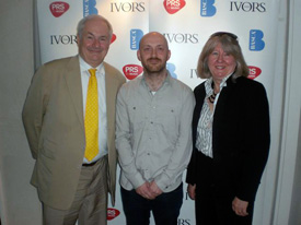 Paul Gambaccini, nominee Justin Parker (co-writer of Lana Del Ray's 'Video Games') and Sarah Rodgers (BASCA chair)