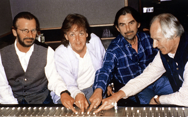 George Martin and The Beatles in 1995