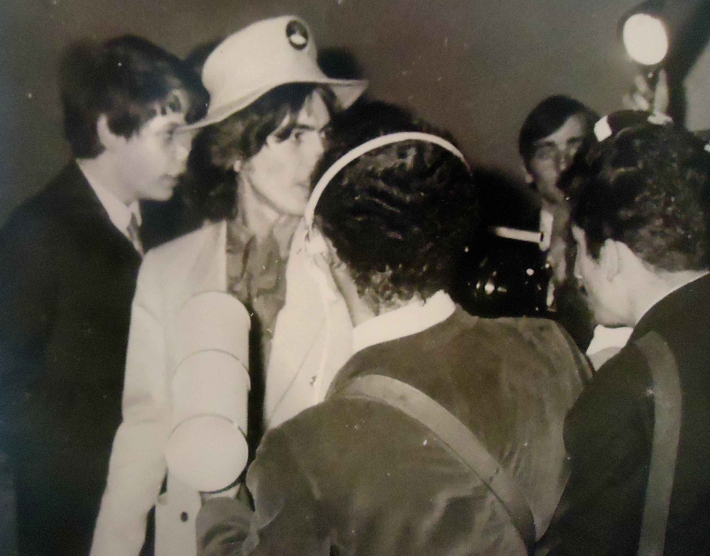 David Stark with George Harrison at the Yellow Submarine premiere 1968