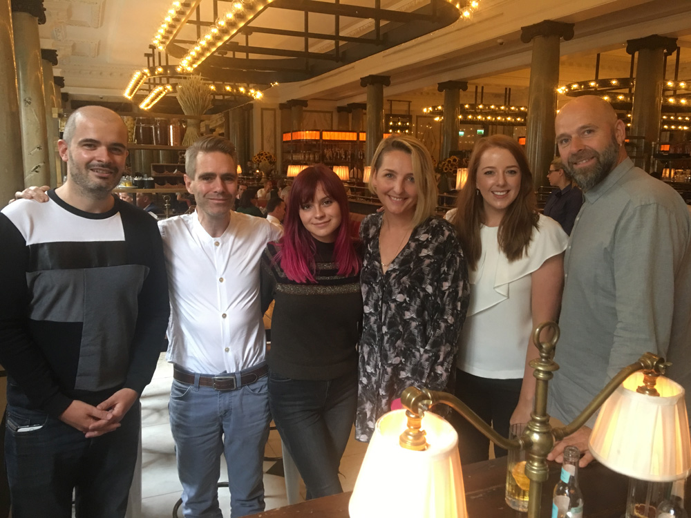 L-R: James Barnes (The 44 Music), Richard Holley (peermusic), Gabrielle Aplin, Liz Horsman (Youthemic), Orna Lyons (The 44 Music) and Mike Spencer (Youthemic)